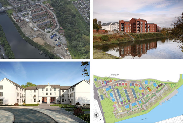 Walton Locks, Warrington, residential development for David Wilson homes. Aerial photo, site plan, artists impression and photograph of built housing.