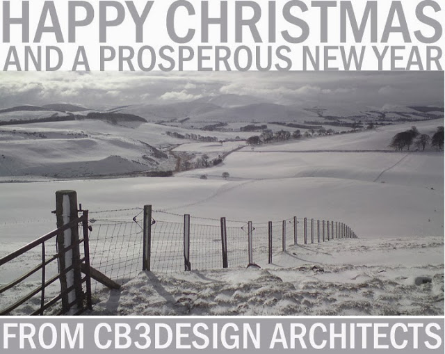 Christmas Card 2013 from CB3 Design Architects; Scottish Borders winter scene.