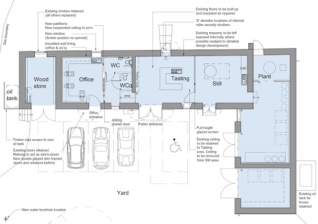 coloured architectural floor plan, proposed layout for steading conversion to craft gin distillery by cb3 design, Peebles, Scottish Borders, Architects