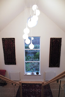 central stair, attic conversion, double height entrance. kitchen alterations, cb3 design, Scottish Borders, Architects