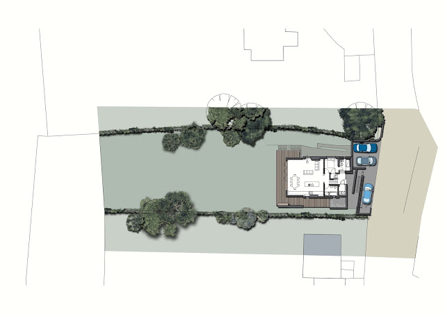 coloured plan drawing of site and proposed floor plan of extended and altered Lake District house by cb3 design