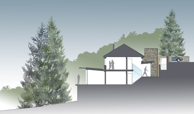 coloured section drawing through site and building of Lake District house by cb3 design