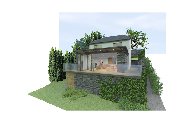 3D render of proposed alterations. Lake District house by cb3 design