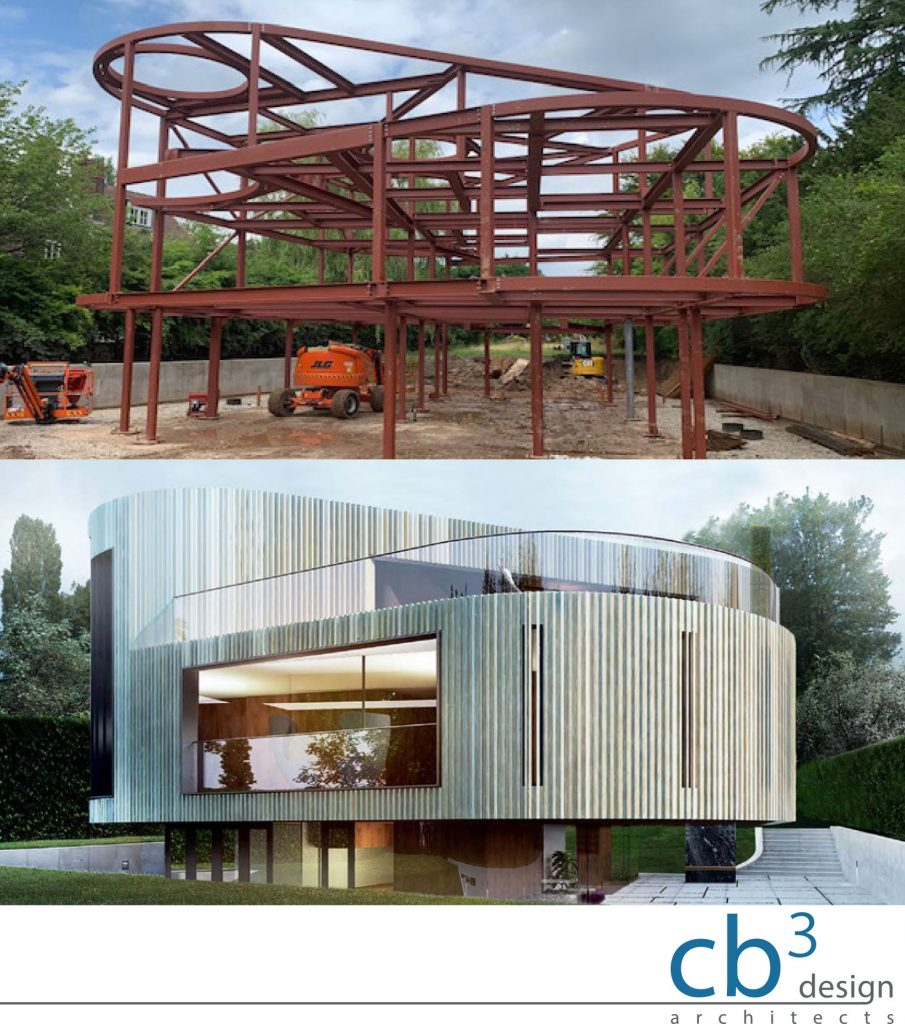 Erected Steel Frame & Rendered Visualisation