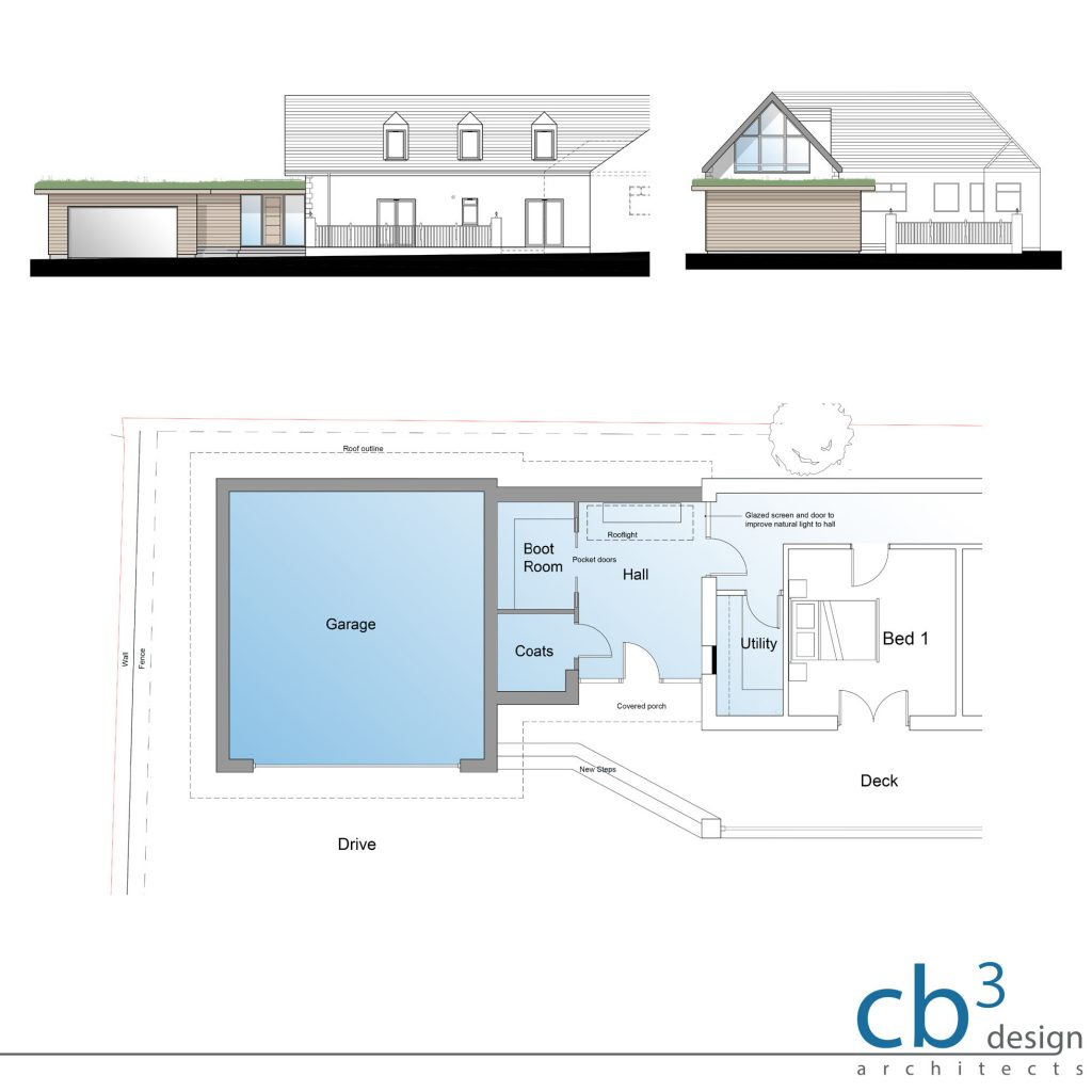 Side extension to include double garage, entrance Porch, enhanced Hallway, new storage & glazing upgrade