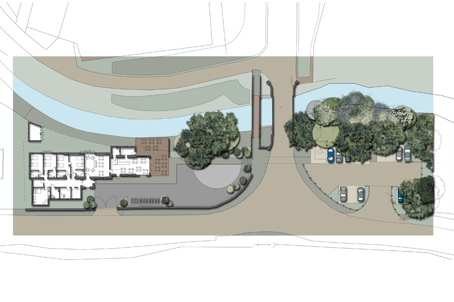 Architects drawing, site plan bunkhouse and cafe, Scottish Borders