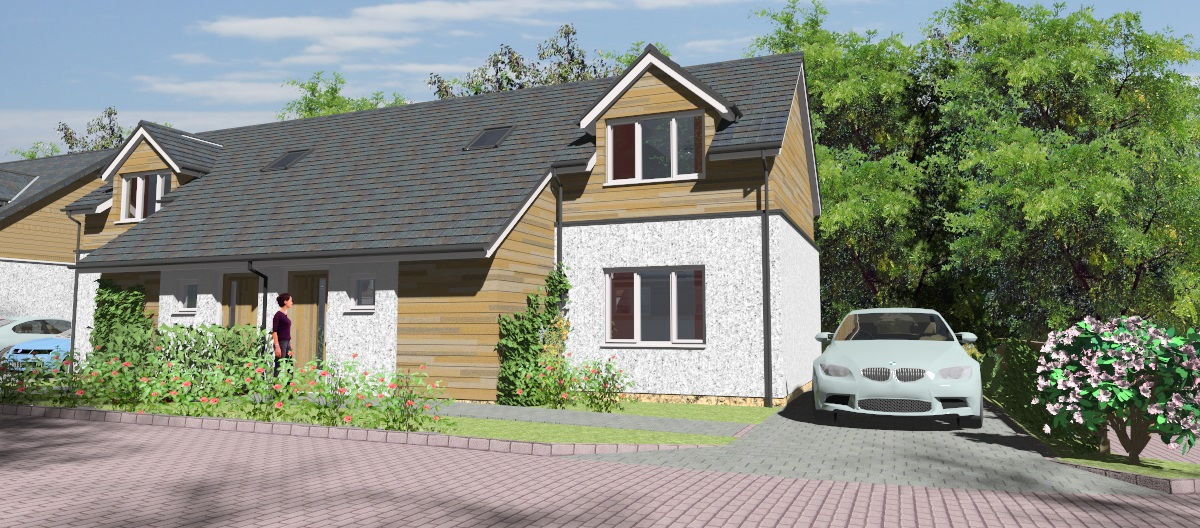 housing development, craigpark, Galashiels, computer rendering, architects drawing