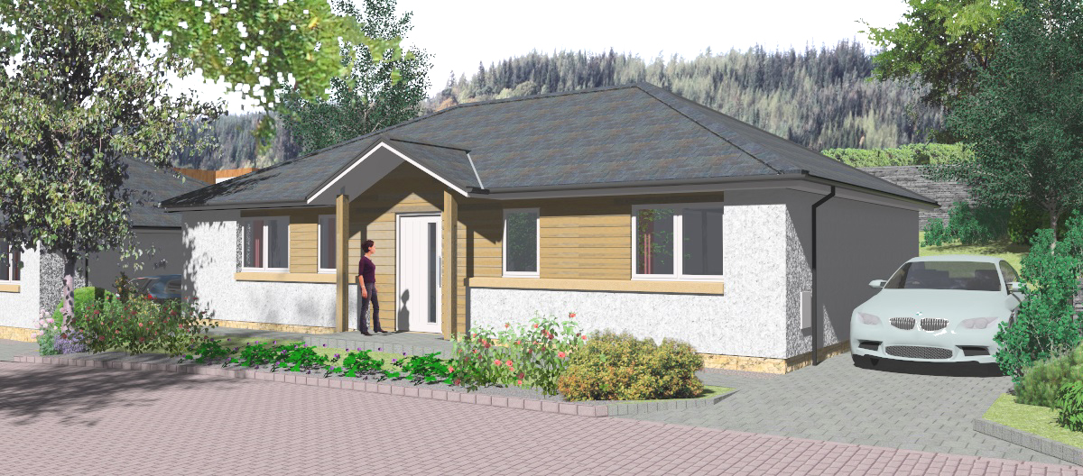 computer image of developer housing, new build bungalow, Galashiels, Murray & Burrell