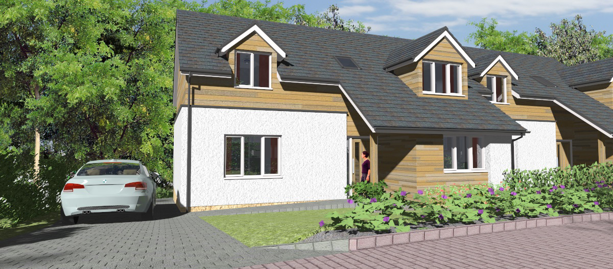 housing development, computer drawing of new build house, showing room-in-the-roof and dormer windows, galashiels