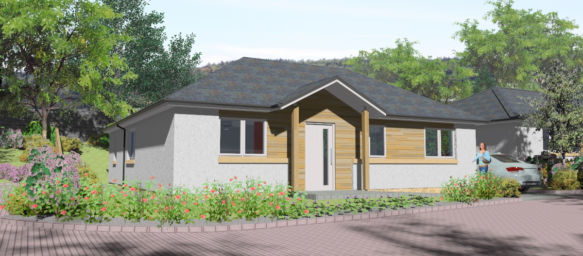 computer drawing of new build bungalow, galashiels, housing development, galashiels architects
