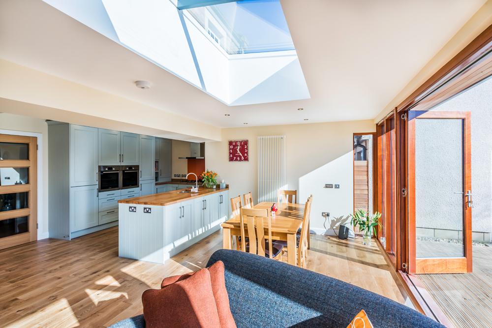 open plan living, kitchen extension interior, Peebles, Scotland