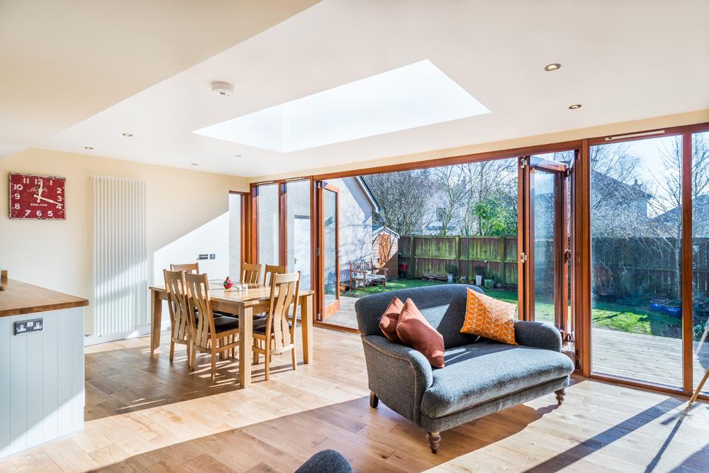 modern extension, open plan living, roof light,