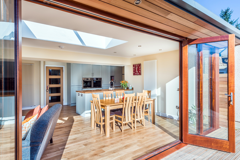 folding doors, garden access, open plan living, Cumbria, Scottish Borders, Cheshire