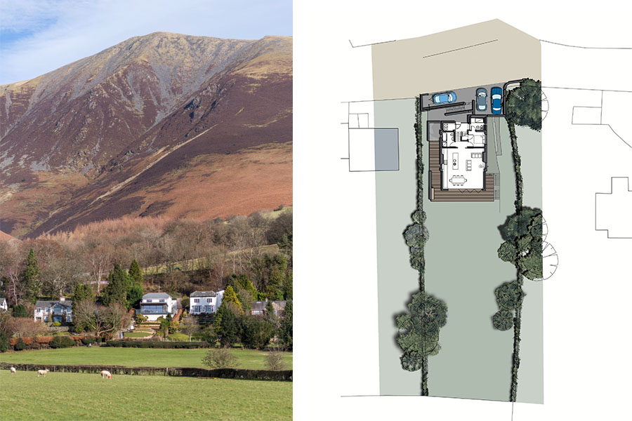 house remodel by Skiddaw , Lake District National Park and site plan