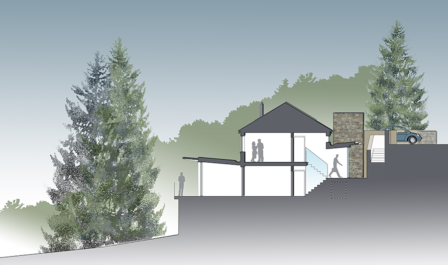 Coloured site section of House remodel and extension Lake District National Park