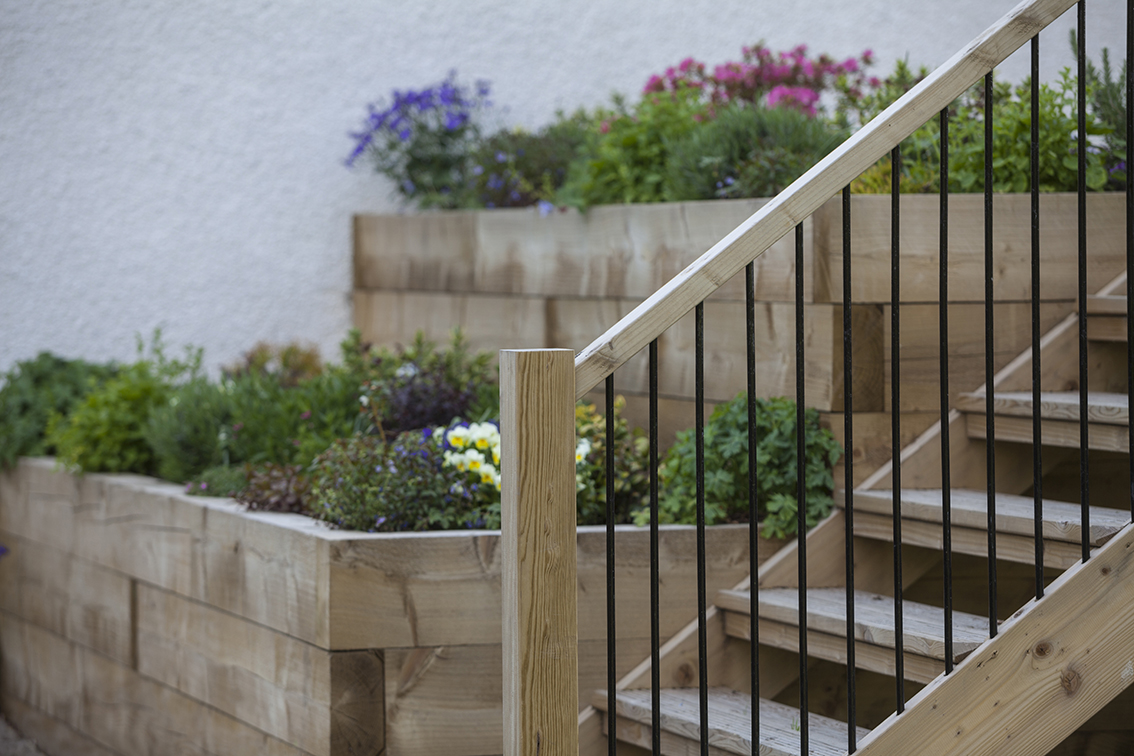 terrace steps and raised flower beds