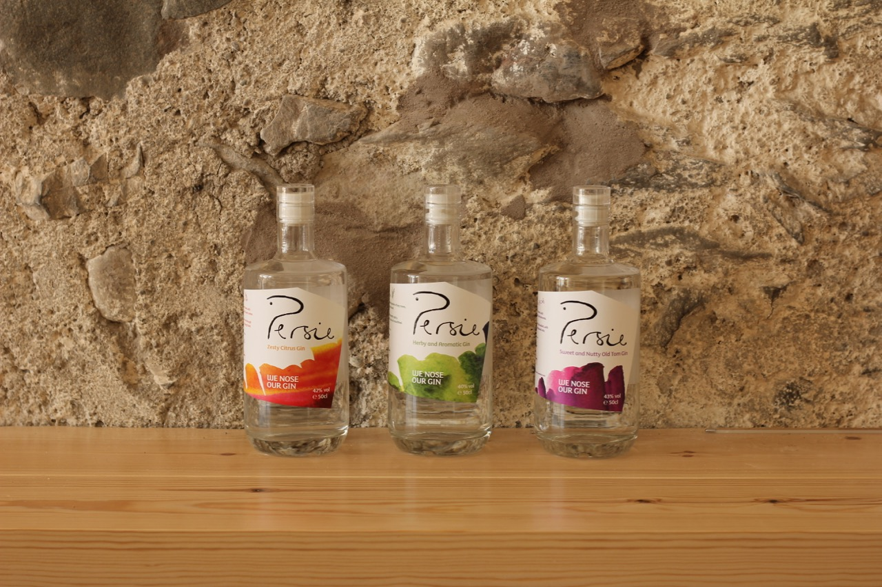 3 flavours of Persie craft gin Perthshire