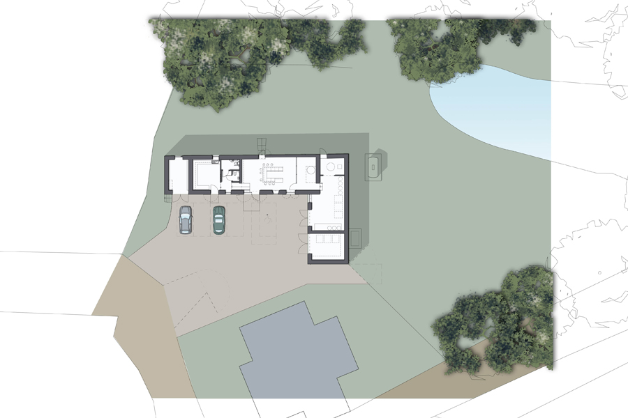 architects drawing, site plan, gin distillery