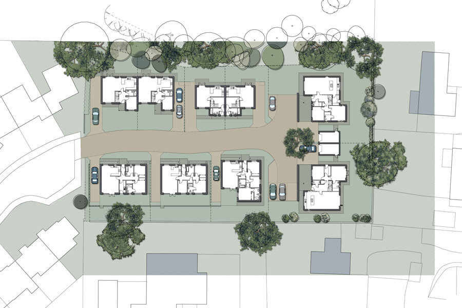 housing development site plan, architects drawings, off plan housing, galashiels
