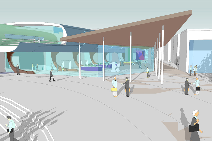competition entry, architects drawing, cultural centre, theatre, gallery