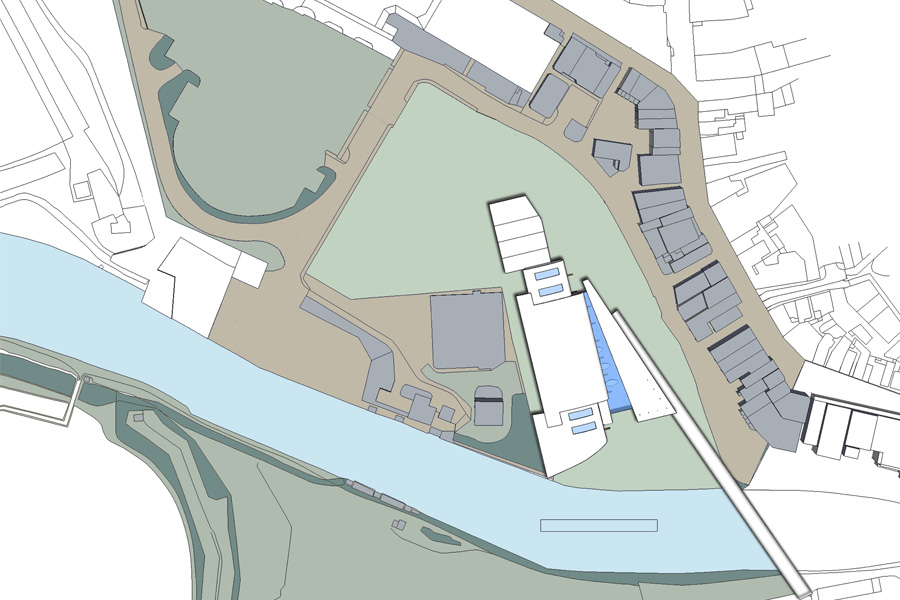 competition entry, Northwich cultural centre, coloured site plan, architects drawing