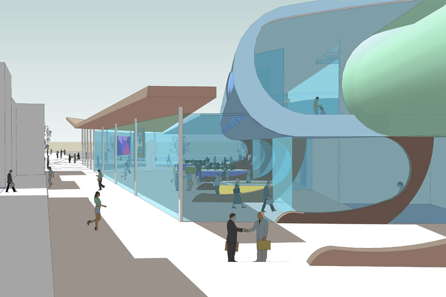 competition entry, cultural centre, community centre, computer drawing, theatre design
