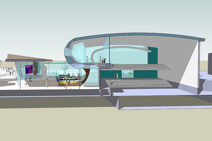 computer drawing of theatre, competition entry, cultural centre design, northwich