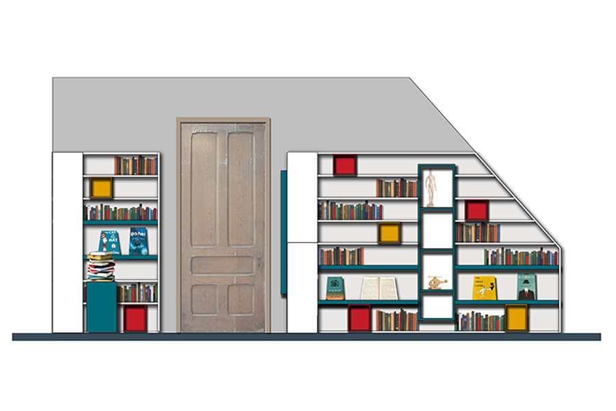 coloured elevation drawing of bespoke library furniture for listed School, east lothian