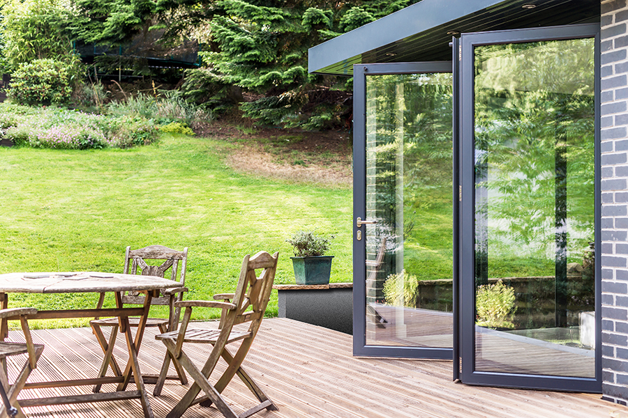 Timber decking, glass folding doors, house extension,Peebles