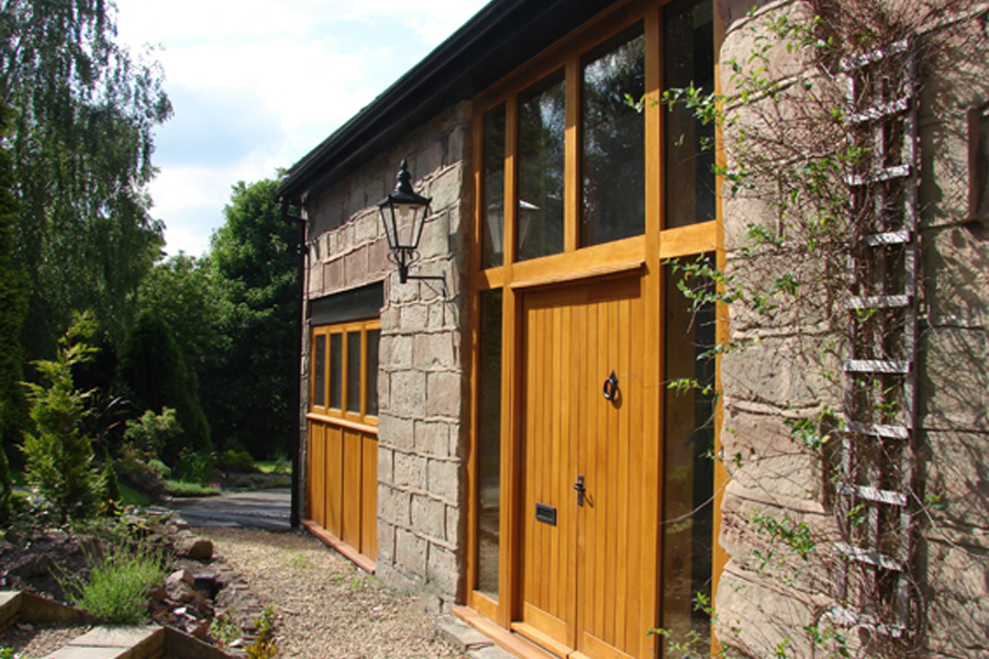 Bespoke oversized timber entrance, Coach House conversion to house, Lymm conservation area