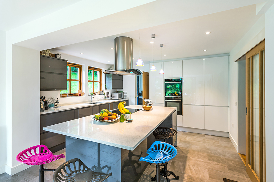 kitchen island, living wall, built-in oven, bar stools, Scottish Borders