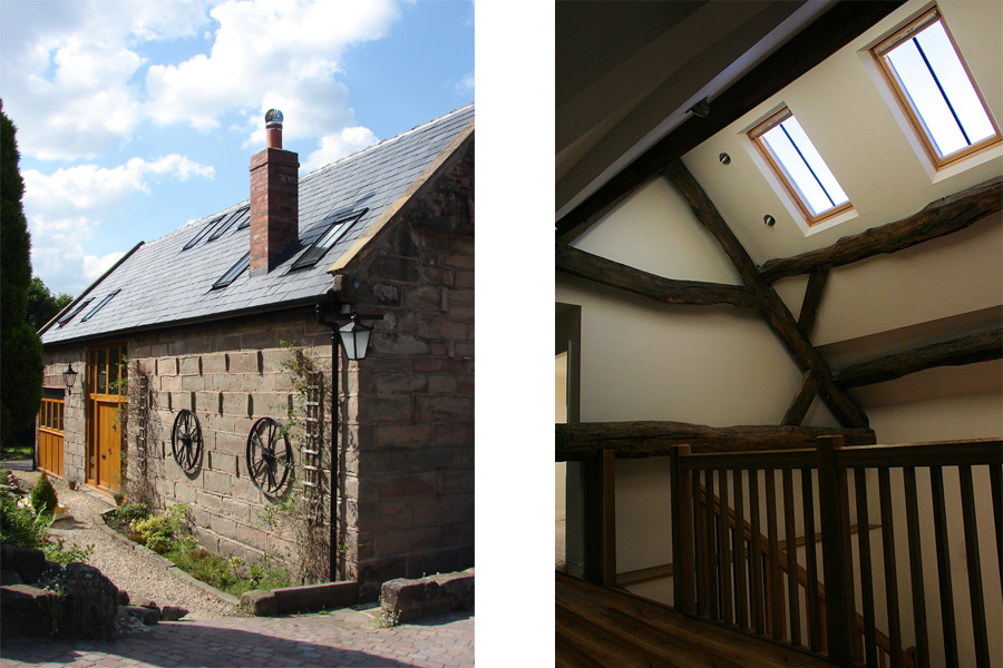 new stair with original coach house roof beams and new roof lights, conversion and extension, listed building, Lymm