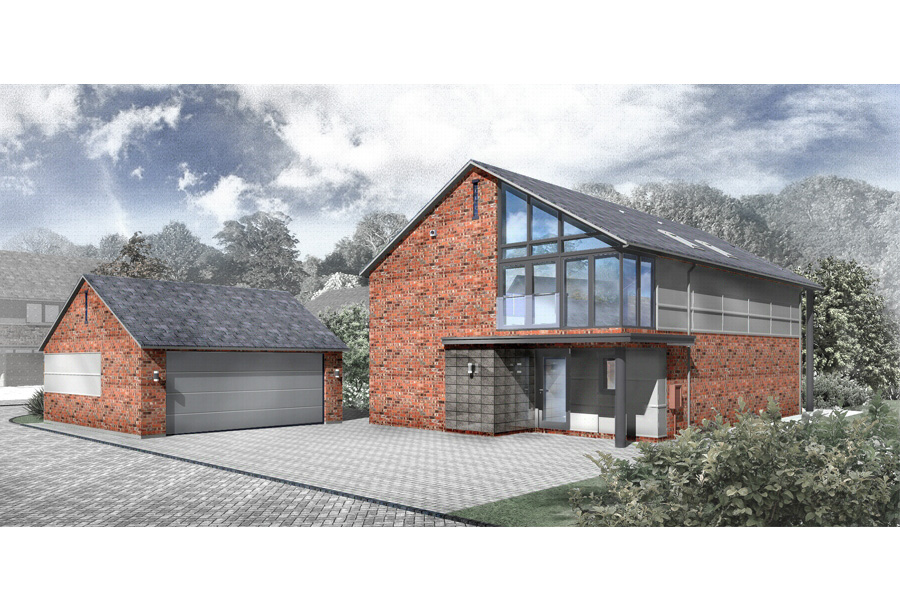 computer rendering of 2 storey new build house, bridge house farm development, thelwall