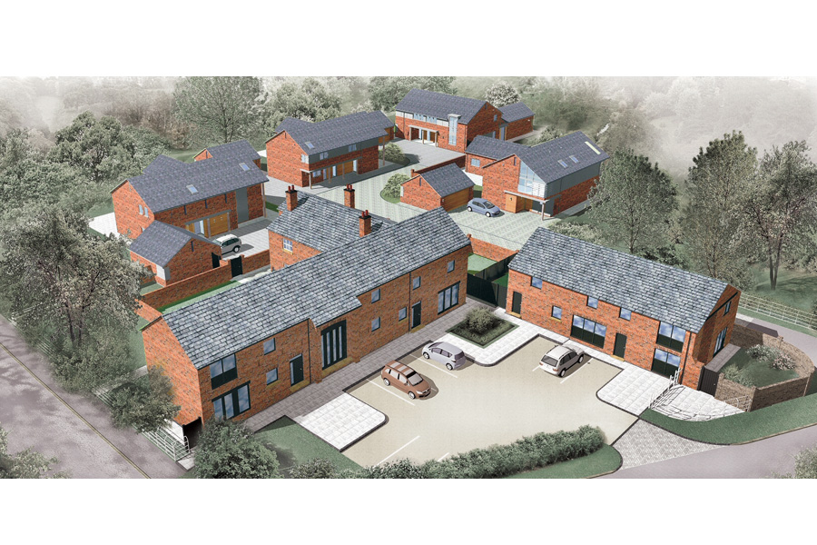 ariel view of computer generated site plan, barn conversions, courtyard, new builds, bridge house farm thelwall