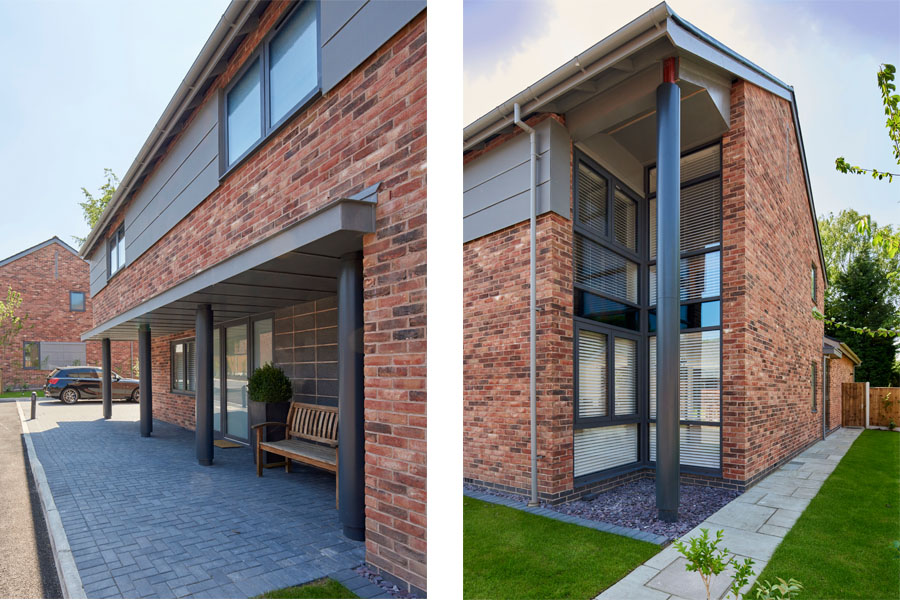 views of new entrance doors, bridge house farm, thelwall, barn conversions