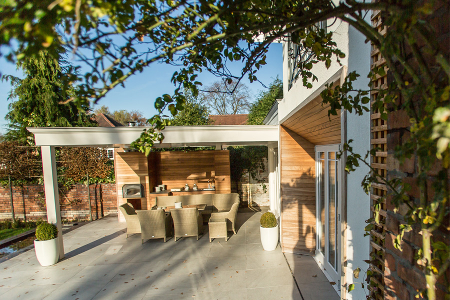 outdoor dining, covered terrace, timber cladding, tiled terrace, Cheshire