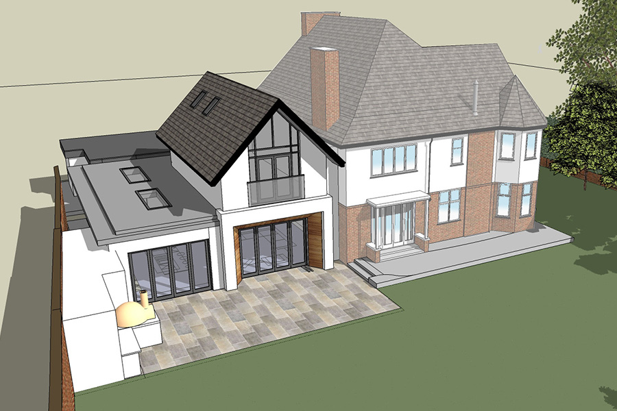 3d visualisation of rear house extension design, Cheshire