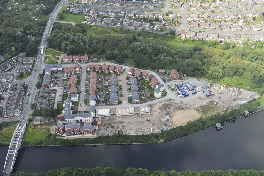 ariel photo of site, manchester ship canal, warrington docks, site plan, residential development,