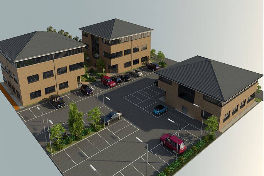 computer model of office development block, arial view of site