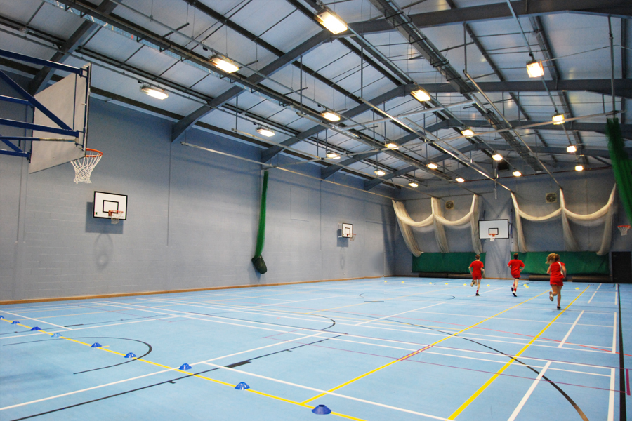 specialist sports floor with court markings for tennis, basketball, volleyball and soccer