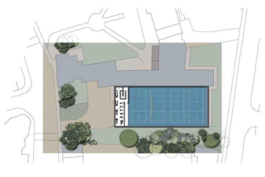 architects site plan, coloured plan, school sports hall refurb