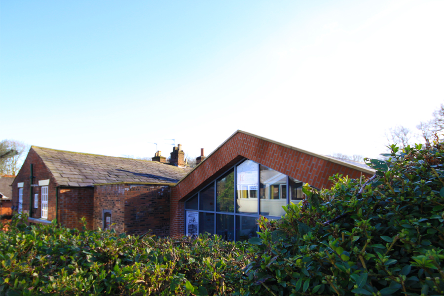 Lymm Heritage Centre, glazed gable wall, pitched roof, Cheshire architects