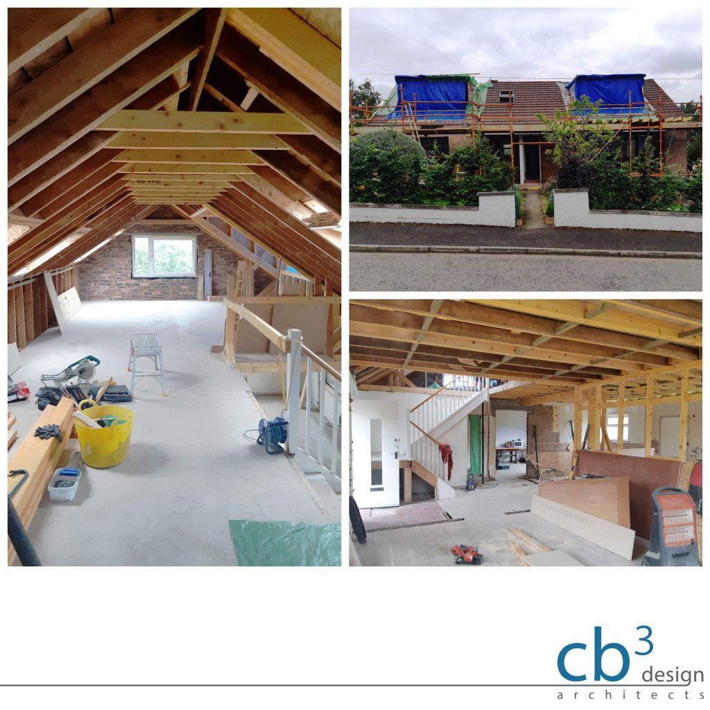 Exposed roof timbers