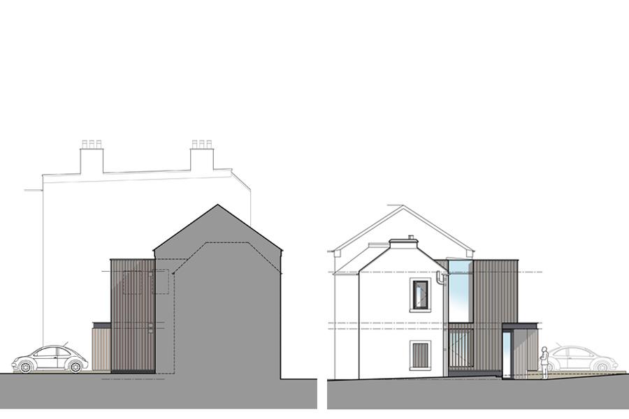 Private School language centre, end elevations, Musselburgh East Lothian
