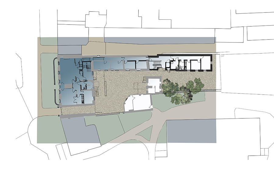 Boarding school extension, Architects drawing, coloured site plan, East Lothian
