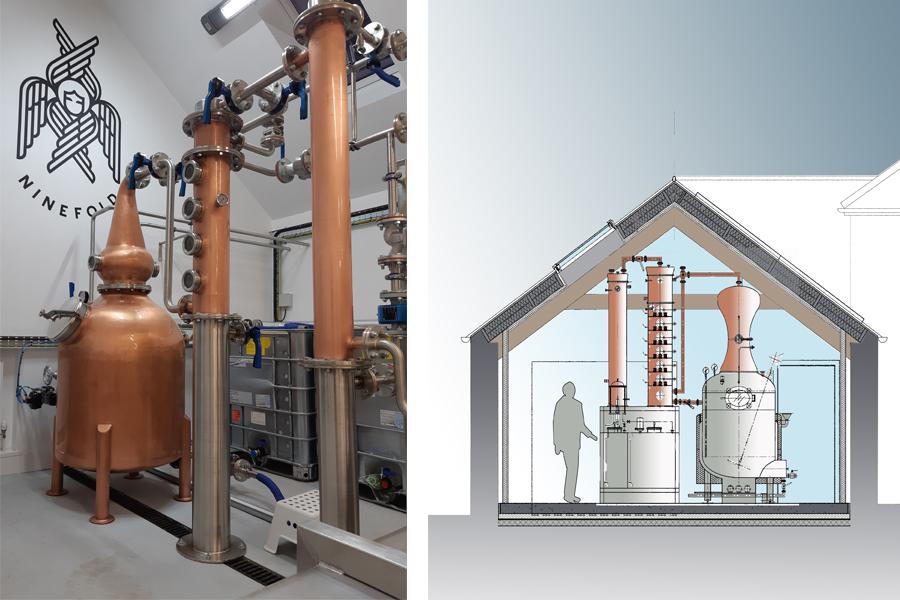Architectural drawing, Scottish distillery, copper still Ninefold Rum Distillery