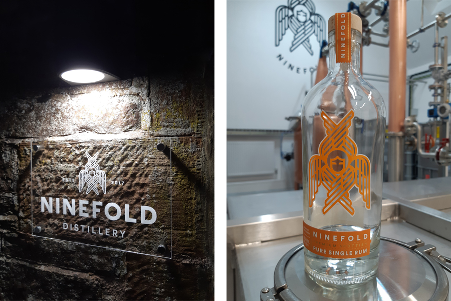 scottish rum distillery, illuminated signage, rum bottle, Ninefold Distillery Lockerbie,
