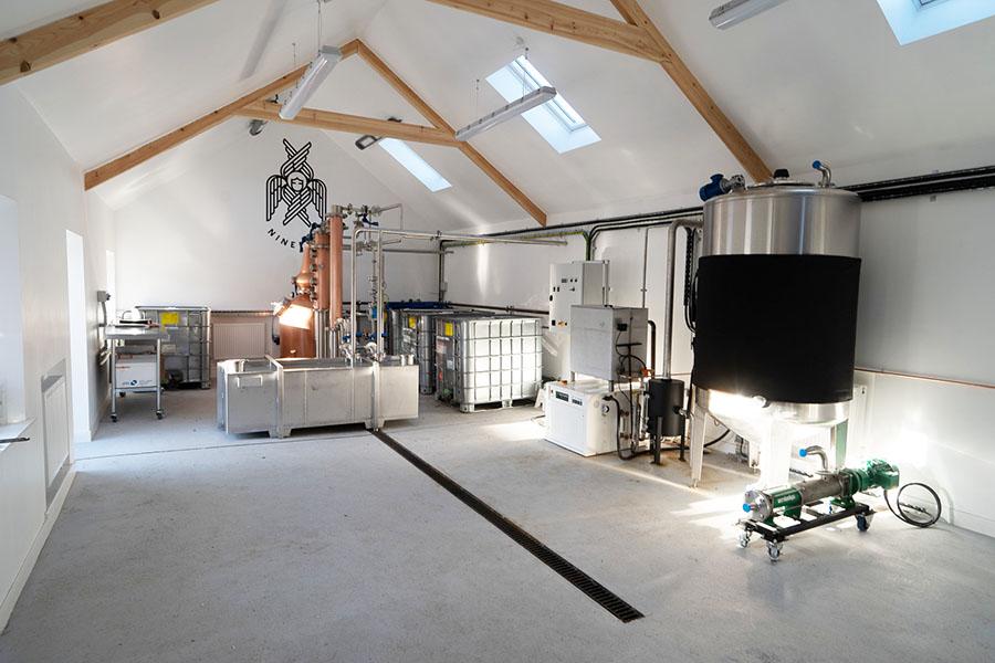 interior of scottish rum distillery, Ninefold Distillery, copper still, Lockerbie, Architects Dumfries & Galloway