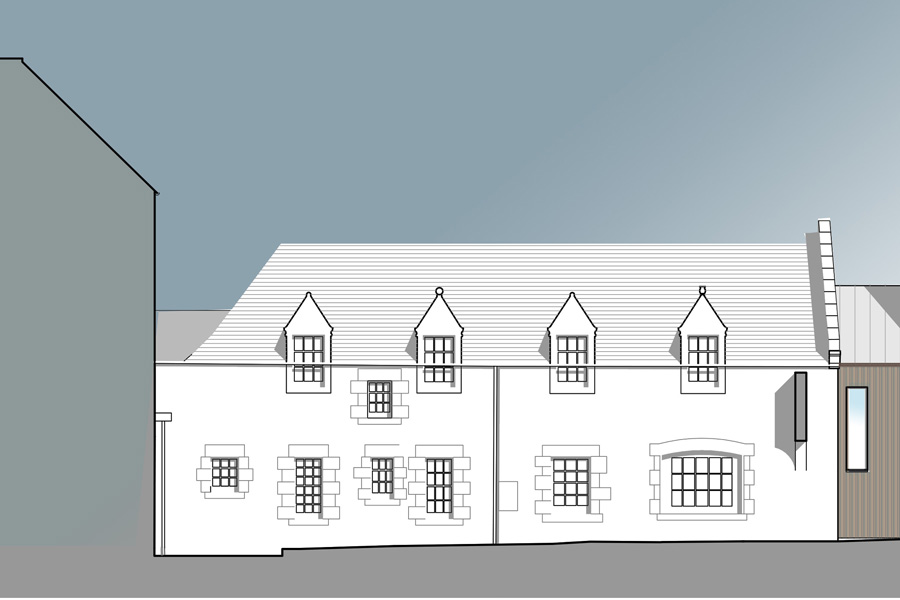 Boarding School extension, Architects drawing, extension elevation, New Build, Residential accommodation