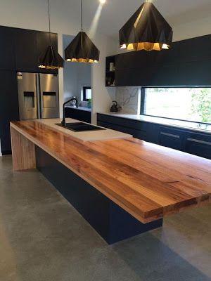 cb3 design pinterest, polished timber kitchen counter, worktops, island
